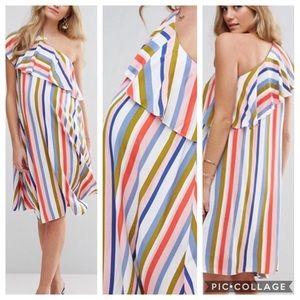 ASOS | Striped One Shoulder Maternity Dress